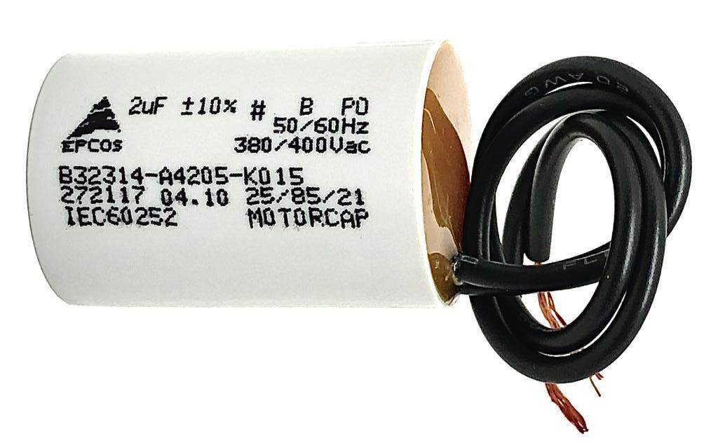 CAPACITOR PPM 2UF 380VCA/400VCA B32314-A4205-K015 25X38MM FIO EPCOS (B32314A4205K015)