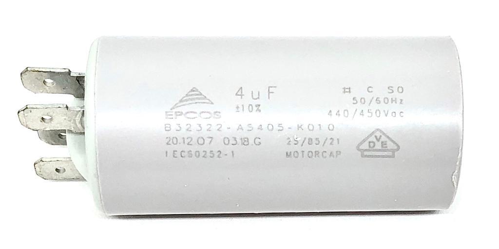 CAPACITOR PPM 4UF 440VCA/450VCA B32322-A5405-K010 30X61MM FASTON EPCOS (B32322A5405K010)