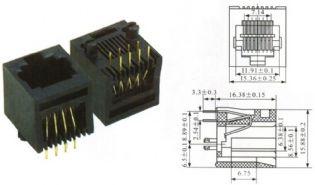 JACK RJ45 8P8C 180º PCI YH52-10 PRETO TOWER