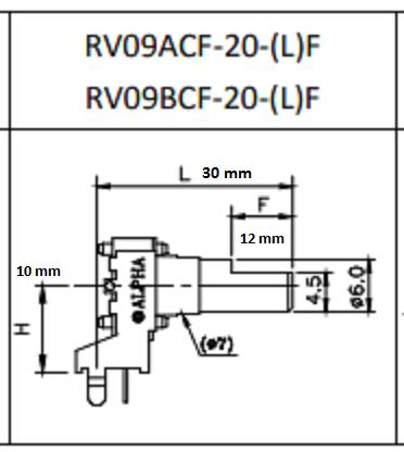 KIT COM 10PEÇAS POTENCIOMETRO HORIZONTAL 10K LINEAR 533F RV09BCF-30-F-B10K ALPHA