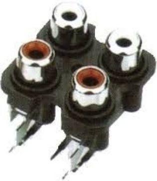 TOMADA 4 X RCA AV4-8,4-7 BRANCO VERMELHO T-VM 4RCA
