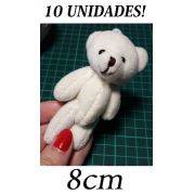 10 Ursinhos de Pelúcia Creme de 8cm para Decorações Artesanato Delicado Mini pequeno