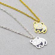 2 Colares Jóias de Urso Panda Brilhante Corrente Com 25cm + Pingente De 2,5cm para festas eventos aniversários balada - Um prateado e Um dourado