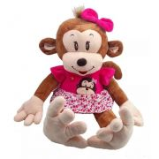 Amiga Macaca de Pelúcia Mel Safari Selva Animal Macio 62cm de altura Macaco Macaquinha Nicho para Quarto Presente Criança Bebê Aniversário Neném Naninha Nana