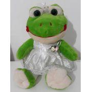 Amiga Sapinha de Pelúcia Noiva Esmeralda 35cm Sapinho Sapo Meiga Boneca Inseparável Com Vestidinho de Noivinha + Véu! Crie seu Amigo !