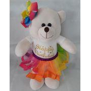 Amiga Ursa de Pelúcia Happy Birthday 45cm Ursinho Ursinha Urso Meigo Inseparável Com Vestidinho e Lacinho! Crie seu Amigo ! Feliz Aniversário !