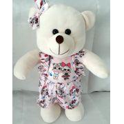 Amiga Ursa de Pelúcia Vestida à Moda LOL Laura 45cm Ursinho Ursinha Boneca Urso Meigo Inseparável Com Vestidinho e Lacinho! Crie seu Amigo !