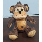 Macaco de Pelúcia Safari Selva Animal Macio 25cm de altura Nicho para Quarto Presente Criança Bebê Aniversário Neném Naninha Nana