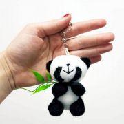 Mini Urso de Pelúcia Chaveiro Panda 8cm com Bambu - Ursinho chaveirinho lembrança lembrancinha festa aniversário artesanato enfeite