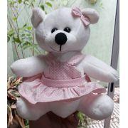 Mini Urso de Pelúcia Vestido Rosa com Bolinhas 20cm - Ursinho Pequeno para decoração presente aniversário namorada artesanato enfeite quarto nicho decorações festas intantil bebê neném crianças