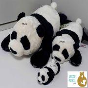 Trio de Ursos de Pelúcia Deitado Panda Nici 50cm + 30cm + 12cm Ursinhos para decoração presente namorados dia das mães festa eventos artesanato enfeite