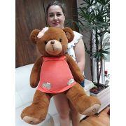 Ursa Marrom Grande 75cm com Roupinha e Lacinho na Cabeça Pelúcia de Alta Qualidade urso ursinho ursinha ideal para presentear!