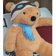 Urso de Pelúcia Aviador Caramelo Gigante Grande 1,40 metros ou 140cm de altura - Tema para Festas Aniversários Decoração Eventos Decorações Infantil Chá de Bebês
