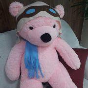 Urso de Pelúcia Aviador Rosa Gigante Grande 1,40 metros ou 140cm de altura - Tema para Festas Aniversários Decoração Eventos Decorações Infantil Chá de Bebês