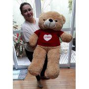Urso de Pelúcia Caqui Caramelo Bege Gigante Grande 1 metro ou 100cm de altura com Roupinha Loves