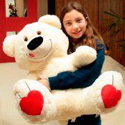 Urso de Pelúcia Creme Beijinho Grande Macio de 80cm Presente Romântico para Namorada Namorado