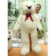 Urso de Pelúcia Creme Polar Super Foto Gigante Grande 1,50 metros ou 150cm de altura com Laço