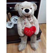 Urso de Pelúcia Areia Grande Macio de 1 metro ou 100cm Presente para Namorada Dia dos Namorados Aniversário com Coração Romântico