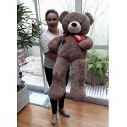 Urso de Pelúcia Marrom Café Gigante Grande 1 metro ou 100cm de altura com Coração Love e Lacinho Marrom
