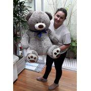 Urso Mescla Cinza Grande 80cm x 70cm bem Cheio com Gravata Azul Pelúcia de Alta Qualidade ideal para presentear!