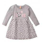 Vestido Mescla Love Bebê Urso Panda Infantil Roupa Ursinho Algodão Macio -  Mimos para Neném Menina