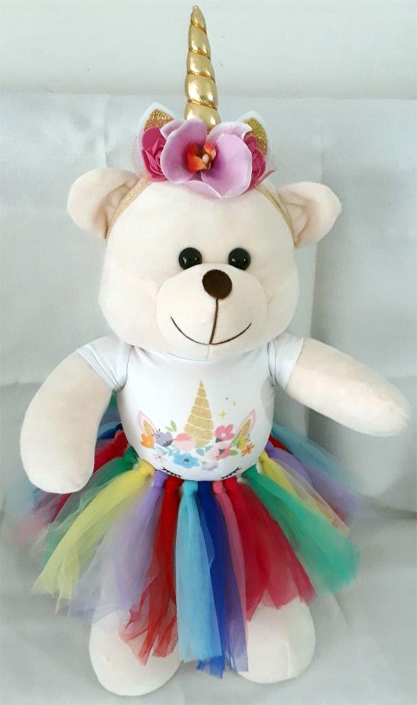 Amiga Ursa de Pelúcia Unicórnio Any Dourado 45cm Ursinho Ursinha Urso Meigo Inseparável Com Blusinha, Sainha e Lacinho! Crie seu Amigo !
