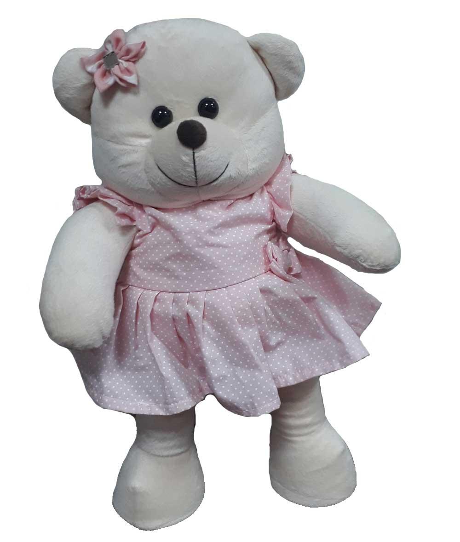 Amiga Ursa de Pelúcia Nanda 45cm Ursinha Meiga Inseparável com Vestido Rosa de Bolinhas Brancas e Lacinho Estrela na Cabeça! Crie seu Amigo !