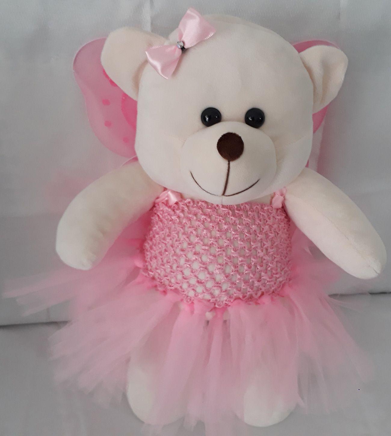 Amiga Ursa de Pelúcia Fadinha Rosa Justine 45cm Ursinho Ursinha Urso Meigo Inseparável Com Vestidinho de Fada e Lacinho! Crie seu Amigo !