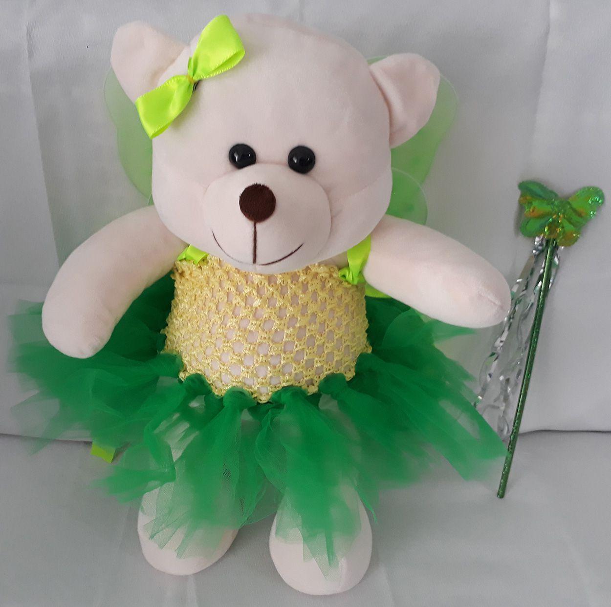 Amiga Ursa de Pelúcia Fadinha Verde Sininho 45cm Ursinho Ursinha Urso Meigo Inseparável Com Vestidinho de Fada, Lacinho e Varinha Mágica! Crie seu Amigo !