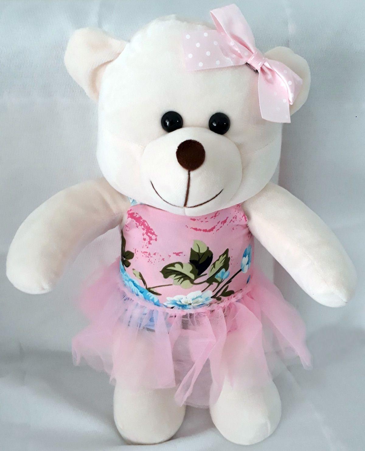 Amiga Ursa de Pelúcia Florbela 45cm Ursinho Ursinha Urso Meigo Inseparável Com Body, Sainha e Lacinho! Crie seu Amigo !