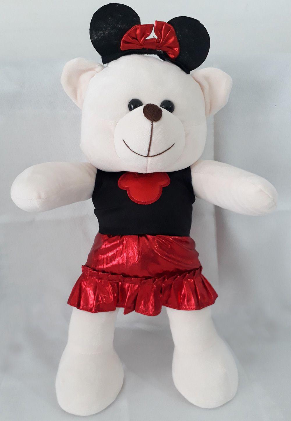 Amiga Ursa de Pelúcia Minnie Marcela 45cm Ursinho Ursinha Urso Meigo Boneca Inseparável Com Vestidinho Vermelho e Preto + Lacinho! Crie seu Amigo !