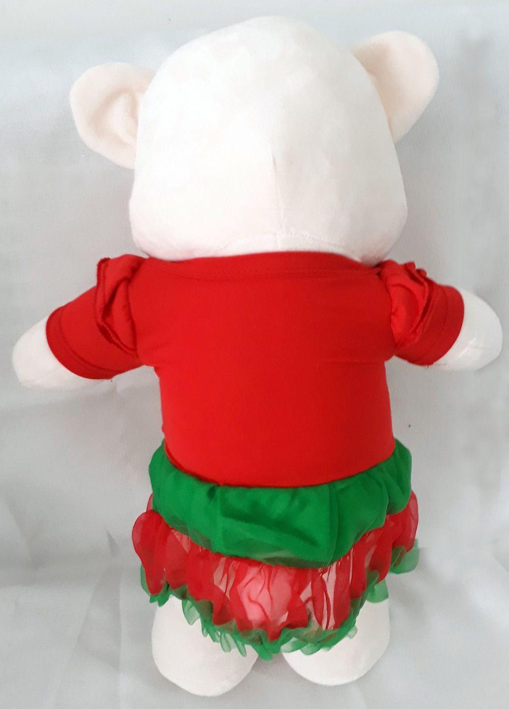 Amiga Ursa de Pelúcia Natal Claus 45cm Urso Meigo Ursinho Natalino Inseparável Com Vestidinho de Natal e Lacinho! Crie seu Amigo !