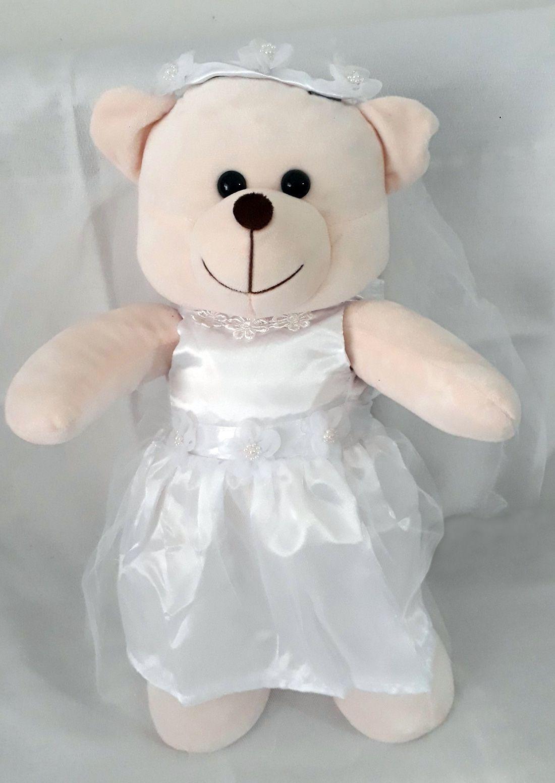 Amiga Ursa de Pelúcia Noiva 45cm Ursinho Ursinha Urso Meigo Boneca Inseparável Com Vestidinho de Noivinha + Véu! Crie seu Amigo !