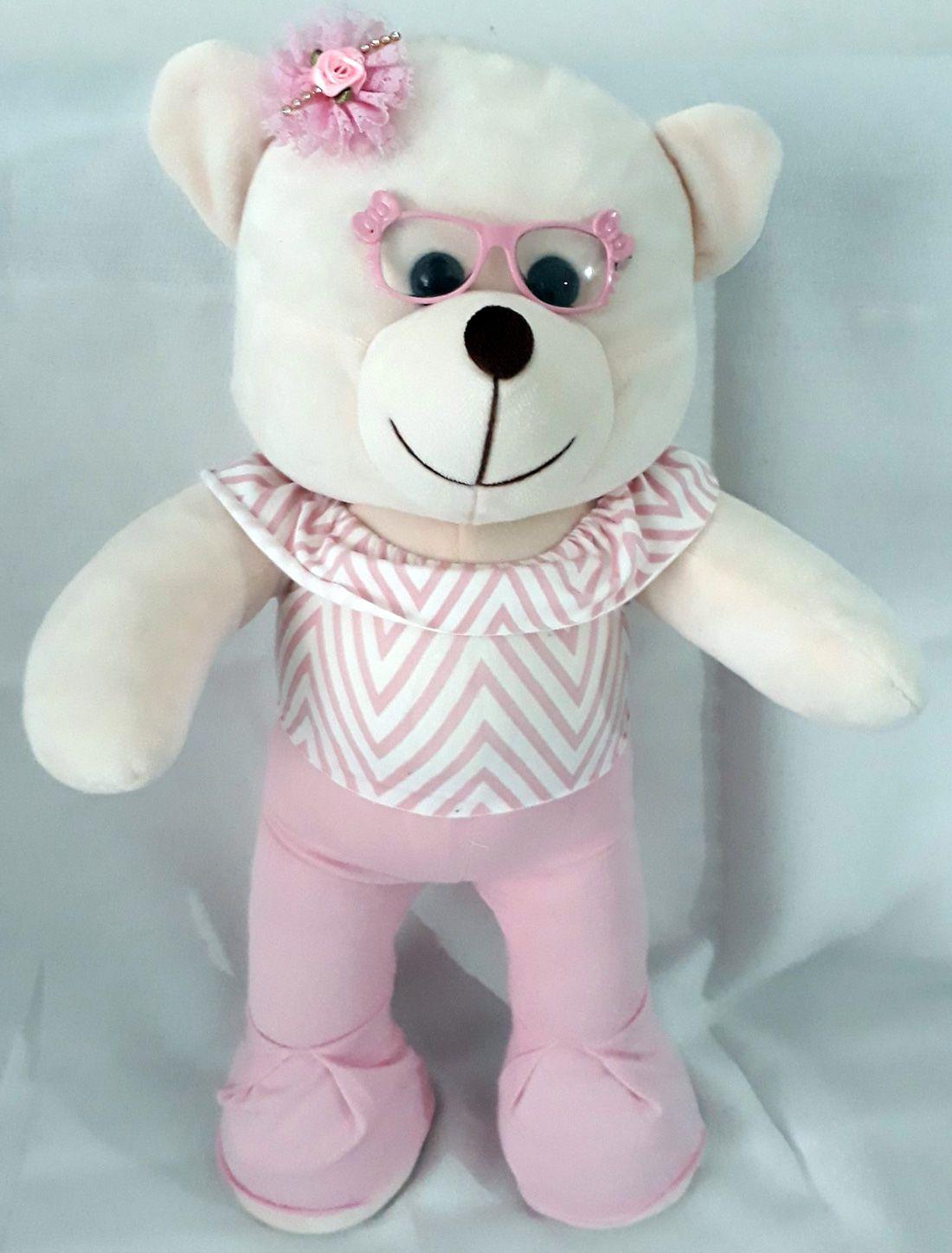 Amiga Ursa de Pelúcia Vestida de Óculos puro Charme Luiza 45cm Ursinho Ursinha Boneca Urso Meigo Inseparável Com Vestidinho e Lacinho! Crie seu Amigo !