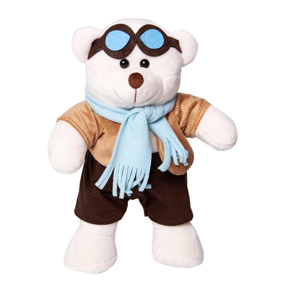 Amigo Urso de Pelúcia Nikolas Aviador 45cm Ursinho Meigo Inseparável Com óculos Aviador, Cachecol, Blusa dourada e Calça preta! Crie seu Amigo !