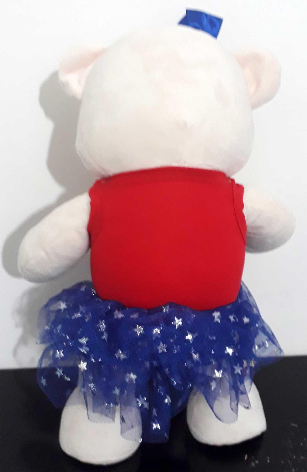 Amiga Ursa de Pelúcia Olivia Capitã América 45cm Ursinho Ursinha Urso Meigo Inseparável Com Blusinha, Sainha e Lacinho! Crie seu Amigo !
