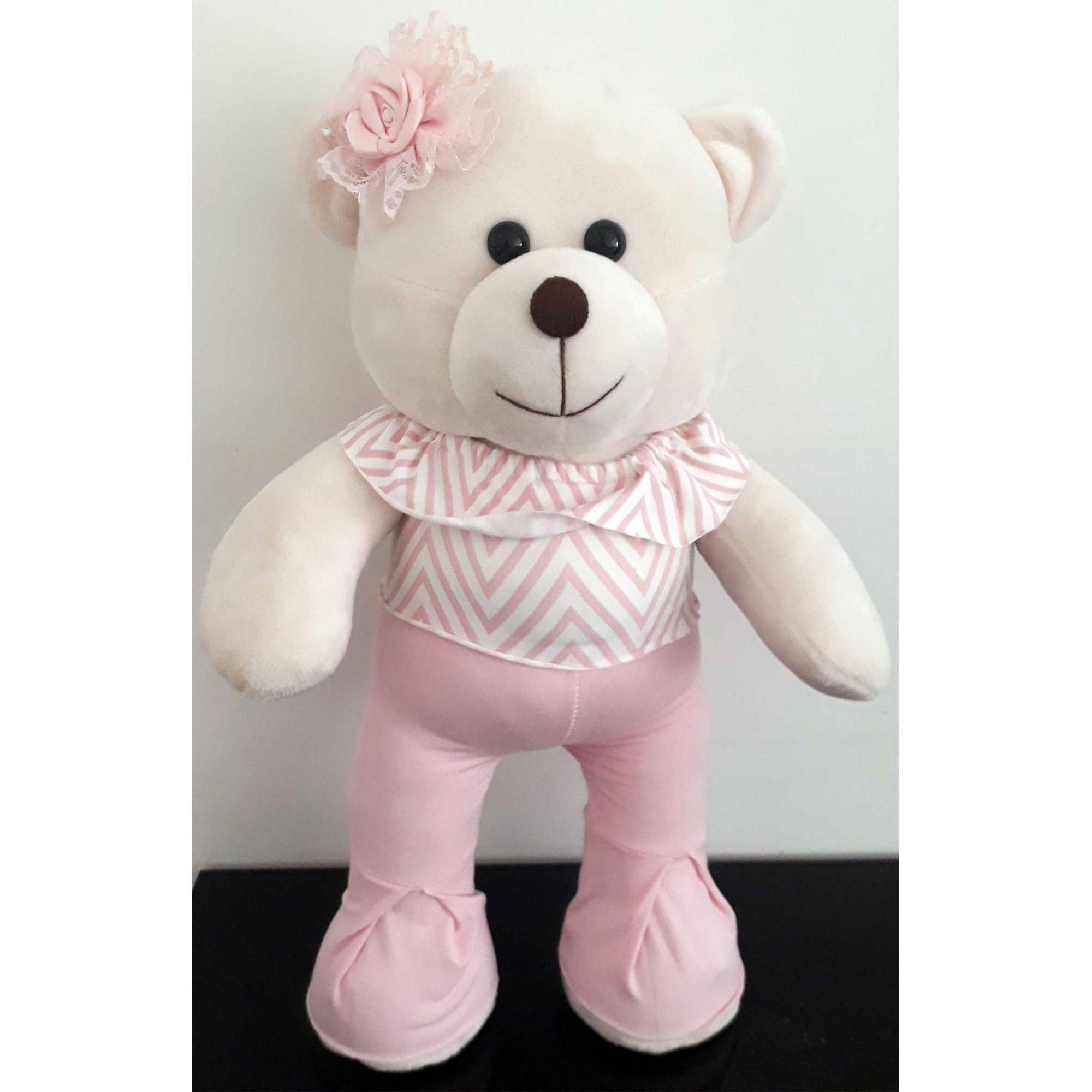 Amiga Ursa de Pelúcia Catarina Fashion na Moda 45cm Ursinho Ursinha Urso Meigo Inseparável Com Roupinha e Lacinho Rosa ! Crie seu Amigo !