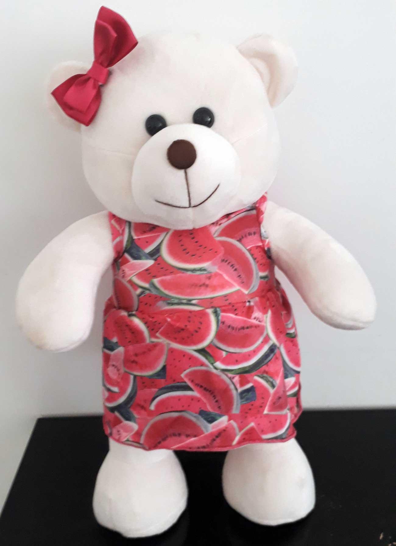 Amiga Ursa de Pelúcia Magali Melancia 45cm Ursinho Ursinha Urso Meigo Inseparável Com Vestidinho e Lacinho! Crie seu Amigo !