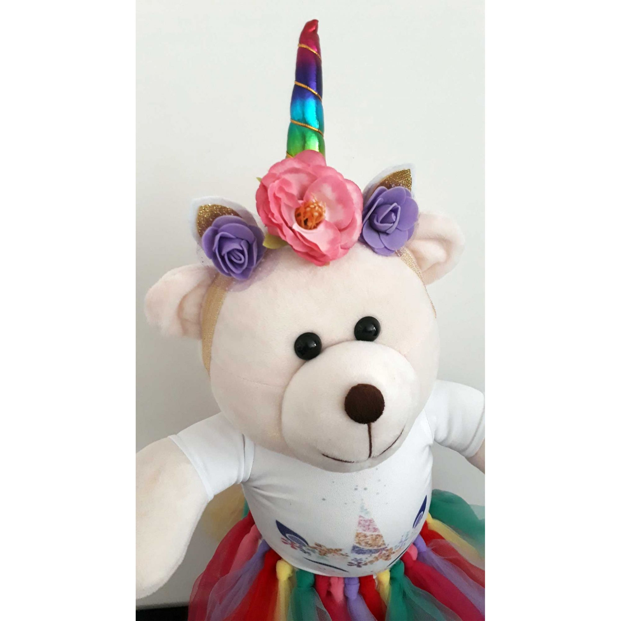 Amiga Ursa de Pelúcia Alice Unicórnio Colorido 45cm Ursinho Ursinha Urso Meigo Inseparável Com Blusinha, Sainha e Lacinho! Crie seu Amigo !