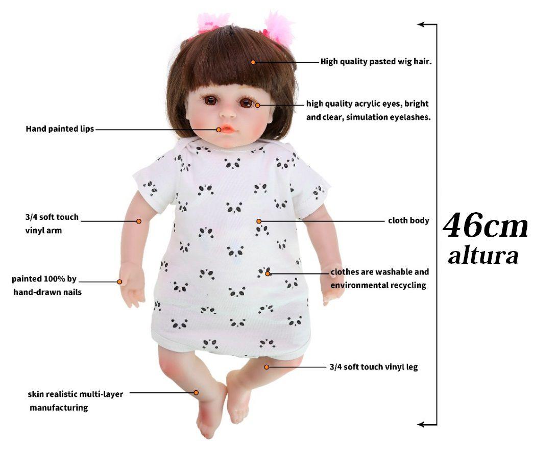 Bebê Boneca Reborn 46cm Super Realista Real Roupa Estilo Urso Panda Baby Lol Promoção