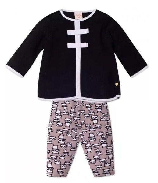 Conjunto 2 peças Bebê Urso Panda Infantil Tamanho 6 a 9 meses Roupa Ursinho Blusa Bouclê e Legging Algodão Super Macio -  Mimos para Neném Menina