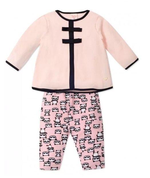 Conjunto 2 peças Bebê Urso Panda Infantil Tamanho 3 a 6 meses Roupa Ursinho Blusa Bouclê e Legging Algodão Super Macio -  Mimos para Neném Menina