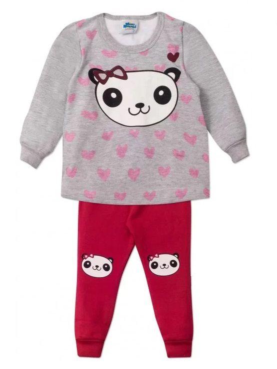 Conjunto 2 peças Casaco e Calça Bebê Urso Panda Infantil Roupa Ursinho Algodão Macio -  Mimos para Neném Menina