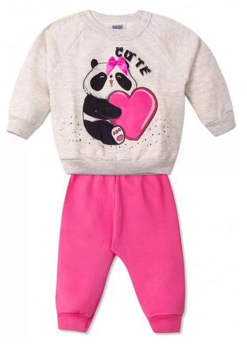 Conjunto 2 peças Moletom Bebê Urso Panda Infantil Roupa Ursinho Algodão Macio -  Mimos para Neném Menina