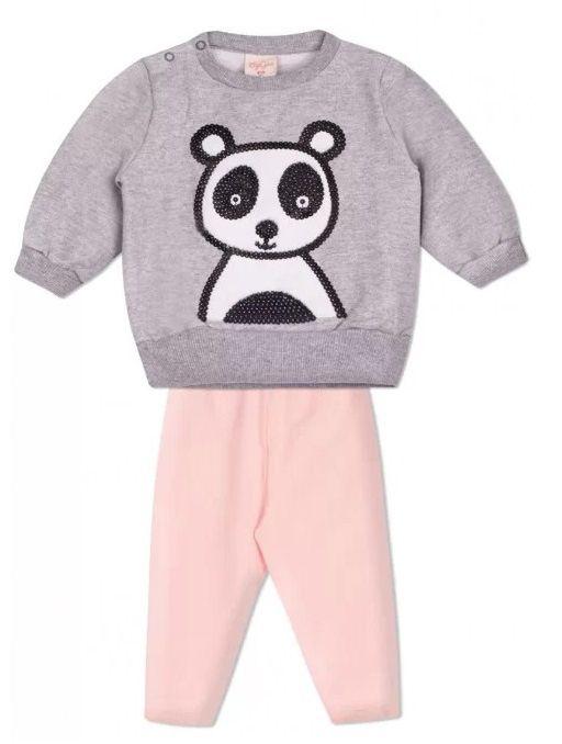 Conjunto 2 peças Moletom Cinza Calça Rosa Bebê Urso Panda Infantil Roupa Ursinho Algodão Macio -  Mimos para Neném Menina