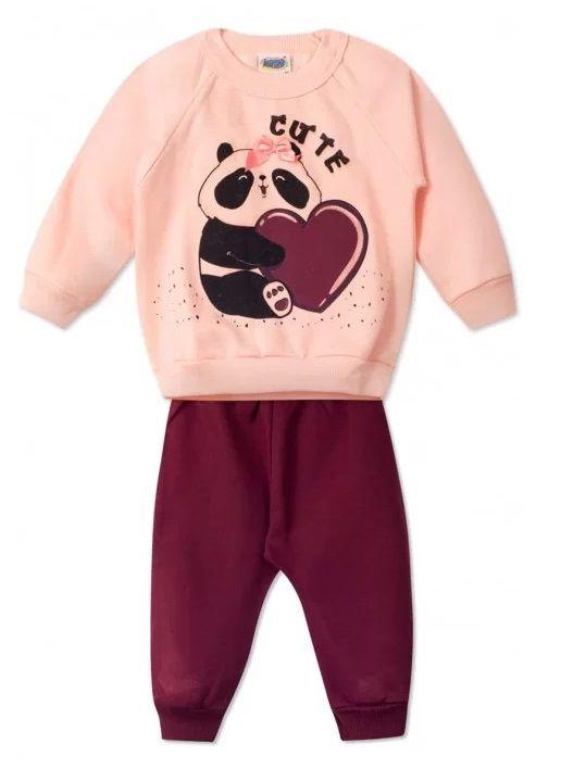 Conjunto 2 peças Moletom Pêssego Bebê Urso Panda Infantil Roupa Ursinho Algodão Macio -  Mimos para Neném Menina