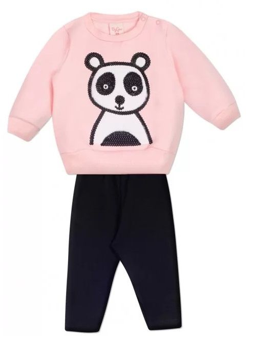 Conjunto 2 peças Moletom Rosa Bebê Urso Panda Infantil Roupa Ursinho Algodão Macio -  Mimos para Neném Menina