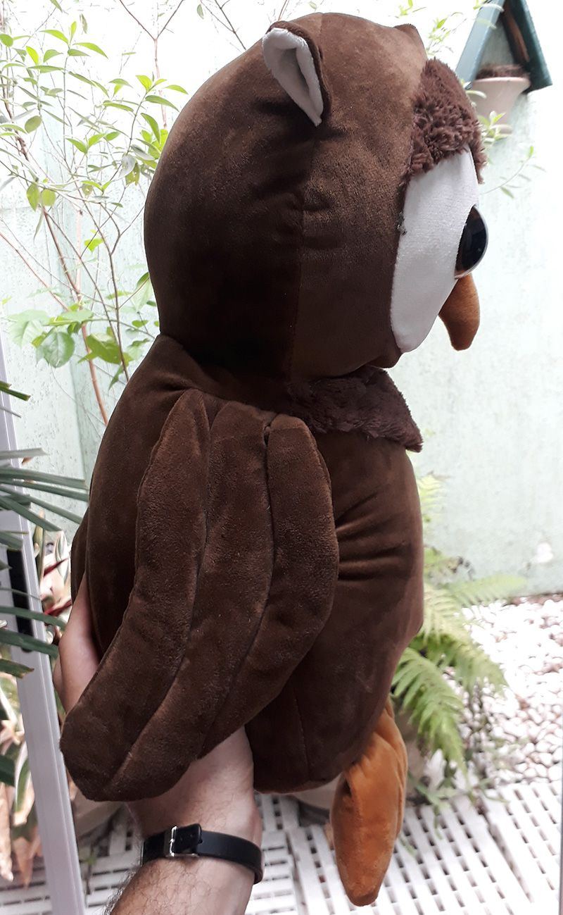 Coruja de Pelúcia Grande Macia com 50cm de altura Presente Criança Bebê Aniversário Neném Naninha Nana Decoração Nicho Quarto