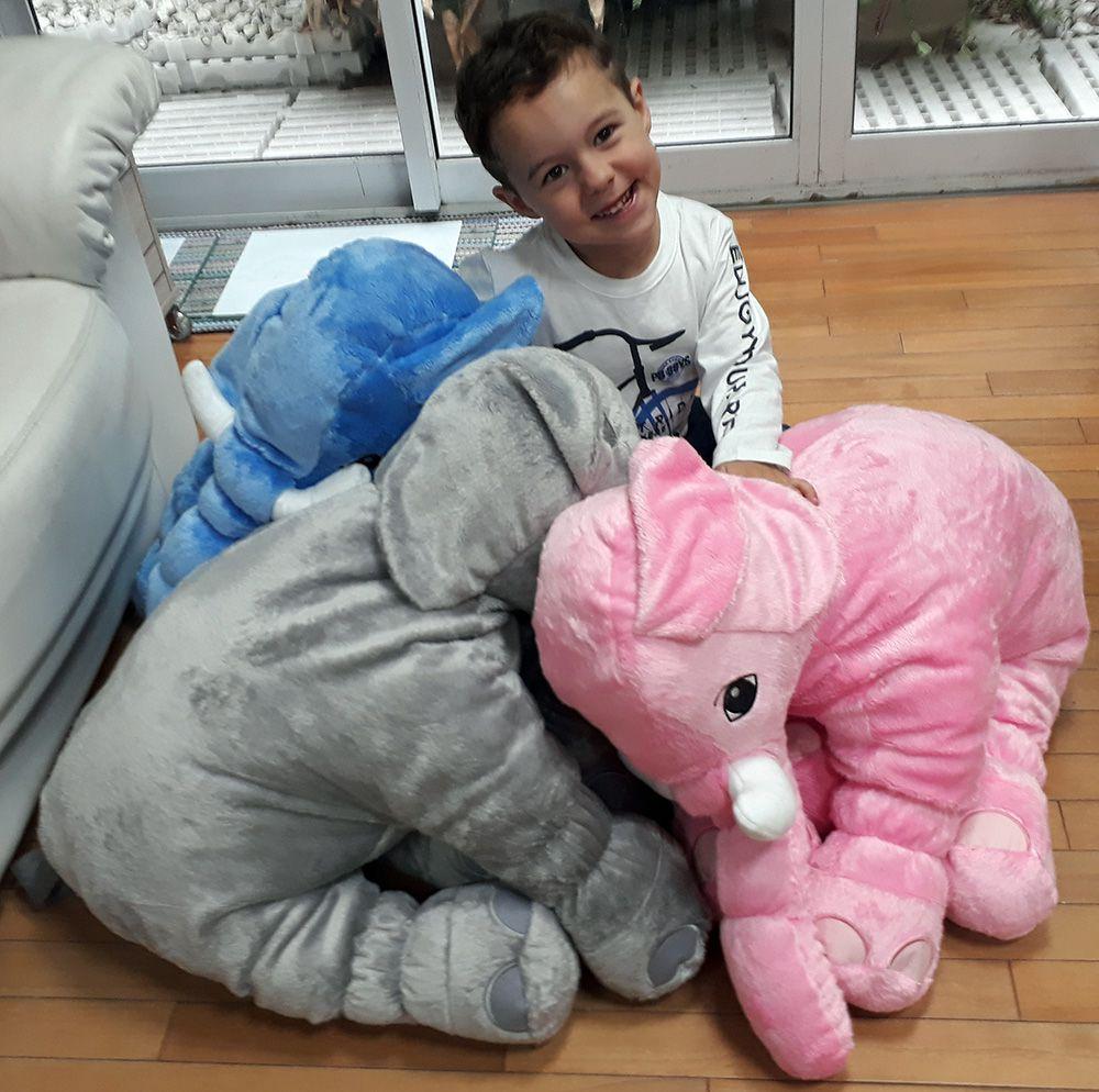 Elefante de Pelúcia 75 x 50 cm Naninha Travesseiro Bebês Neném para decoração presente namorada natal ano novo amigo secreto festa eventos artesanato enfeite - Preço Unitário