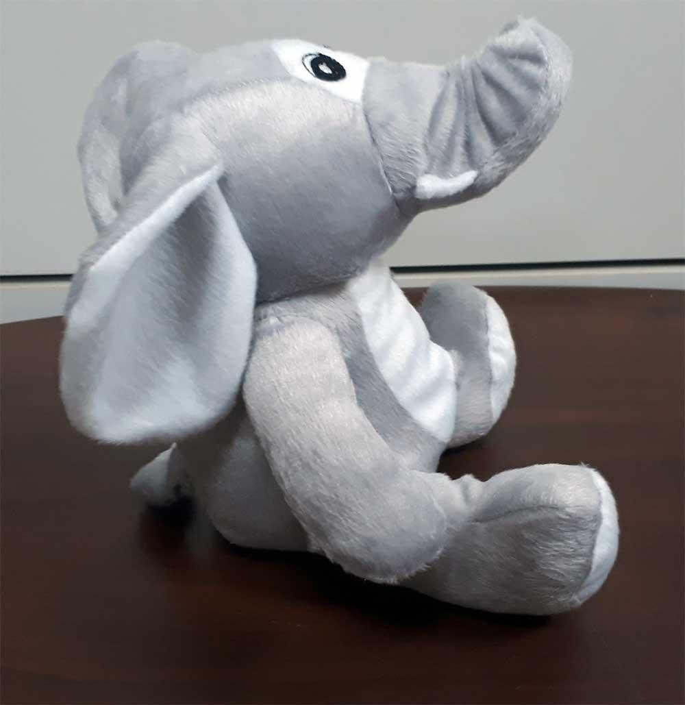 Elefante de Pelúcia Safari Selva Animal Macio 25cm de altura Nicho para Quarto Presente Criança Bebê Aniversário Neném Naninha Nana